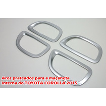 Aro Prateado Fosco Para A Maçaneta Interna Do Toyota Corolla