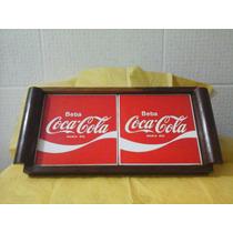 Bandeja Antiga Madeira Com Ajulejos Da Coca Cola-restaurada