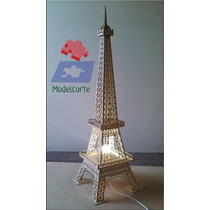 Luminária Torre Eiffel Mdf 3mm 1,15m - 3d Para Montar