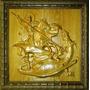 Quadro São Jorge Escultura Em Madeira Entalhada