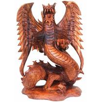 Escultura Dragão Bali Com Asas Madeira Para Decoração - 40cm