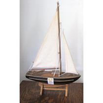 Antigo Barco Caravela Miniatura Em Madeira #682