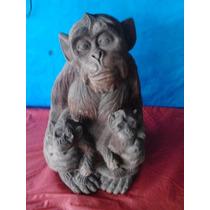 Escultura Macaco Uma Peça Bem Trabalhada Africana
