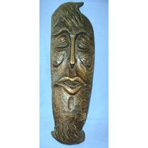Escultura - Mascara Grande Em Madeira 70cm - Assinada