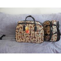 Kit Bolsa De Viagem Feminina Com Rodinha *girafinha*