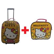 Mala Viagem Rodinhas + Frasqueira Hello Kitty Rosa Infantil