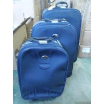 Kit 3 Malas De Viagem Premium Azul Com Rodinha Novo
