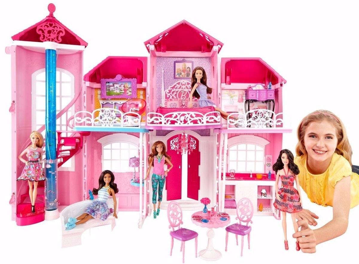 Mansão Casa Da Barbie Em Malibú 3 Andares Gigante Pronta R$ 2  #C3083B 1200x884 Banheiro Da Barbie Mercadolivre