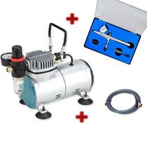 Kit Para Aerografia Completo, Compressor, Aerografo E Filtro