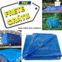Lona 8x6 Azul E Branca Plastica Impermeavel Festa Proteção