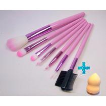 Kit Com 7 Pincéis Para Maquiagem E Estojo Rosa + Brinde