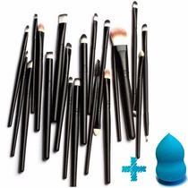 Kit Com 20 Pincéis Pincel Para Maquiagem + Brinde