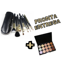 Pinceis Mac Kit Com 12 + Paleta De Corretivos 15 Cores