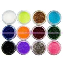 Frete Gratis Kit Unhas 12 Cores Gliter Unhas E Maquiagem