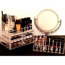 Kit 3 Produtos: Porta Maquiagem / Batom / Espelho = Promoção