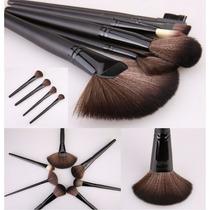 Pinceis Maquiagem Kit 24 Pçs Profissional Completo + Estojo