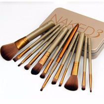 Kit 12 Pincel Maquiagem Naked Com Estojo - Pronta Entrega