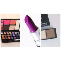 Kit Maquiagem Sombras+batom+iluminador Mac