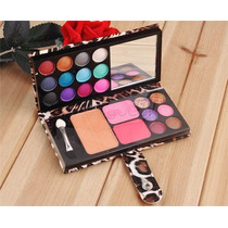 Paleta Sombra 12 Cores Blush Pó Espelho + Pincel Estojo Onça