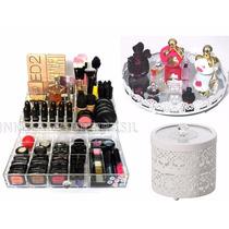 Organizador Acrílico Porta Maquiagem + Bandeja + Pote Proven