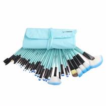Kit De Pinceis 32 Pcs Para Maquiagem Profissional Azul