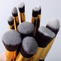 Kit Com 10 Pincéis Profissionais Kabuki De Cerdas Sintéticas