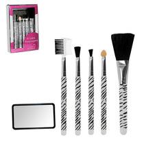 Kit Pinceis P/maquiagem C/espelho + 5pcs Cerdas Naturais