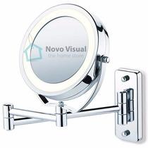 Espelho Com Luz Articulado Cromado Duplo Com Aumento De 5x