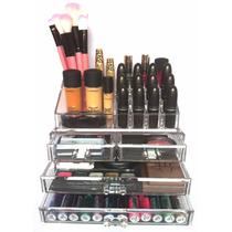 Organizador Maquiagem Acrílico 4 Gavetas Porta Pincel Batom