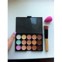 Kit Maquiagem Pincel+esponja +paleta Sombra 15 Cores Contorn