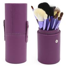 Kit Com 12 Pincéis Pincel + Case Excelente Qualidade Roxo