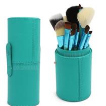 Kit Com 12 Pincéis Pincel + Case Excelente Qualidade Verde