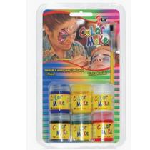 Tinta Maquiagem Facial E Corporal 6 Cores - Blister