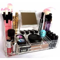 Porta Maquiagem Em Acrílico Organizador C/ Gaveta C/ Espelho