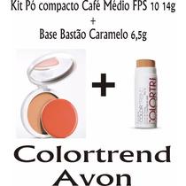 Kit Colortrend Avon Base Bastão Caramelo + Pó Café Médio 14g