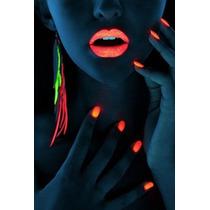 Batom Neon Fluorescente Laranja Brilha Luz Negra Color Make