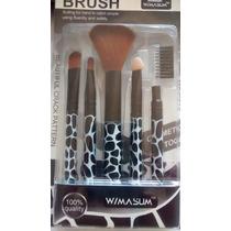 Kit Pinceis C/ 05 Unids Para Maquiagem Estampado Brush