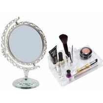 Kit Espelho Maquiagem Princesa E Organizador Em Acrílico