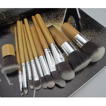 Kit 11 Pincéis Maquiagem Kabuki Bamboo Madeira Profissional