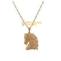 Colar C/ Pingente Cabeça De Cavalo Detalhe Em Pedras - Único