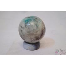 Enfeite Bola Marmore Rajado C/ Peanha De Pedra Cchic E.g