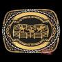 Fivela 3d Ranch Sporting C/ Fundo Negro E Banho Dourado
