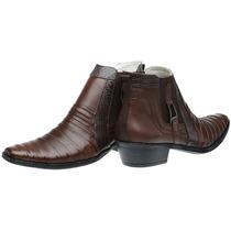 Bota Cowboy Tatú Cano Médio Em Couro - Grátis Cinto Country