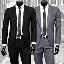 Ternos Masculino Slim Oxford Dois Botoes + Brindes
