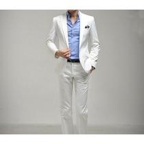Terno Slim Fit Branco Masculino Importado