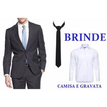 Terno Slim Com Brinde Gravata E Camisa Social Pronta Entrega