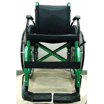 Cadeira De Rodas Dobrável Em Aluminio 44 Cm Verde - Ortomix