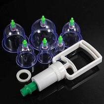 Kit Com 6 Ventosas Terapeutica + Bomba De Sucção