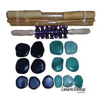 Kit De Pedras Para Massagens Quentes E Frias Bambu E Rolo