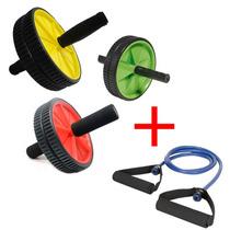 Roda Abdominal Profissional Exercicios + Extensor Elástico